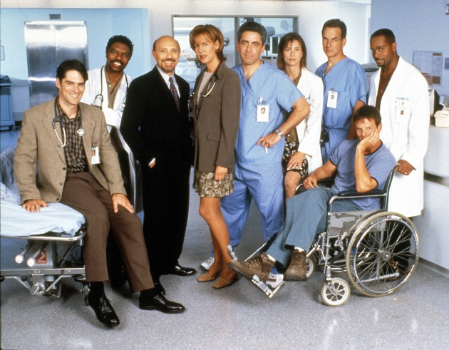 """Chicago Hope"" Thomas Gibson, Vondie Curtis-Hall, Hector Elizondo, Christine Lahti, Adam Arkin, Jayne Brook, Mark Harmon, Peter Berg, Rocky Carroll 1996"